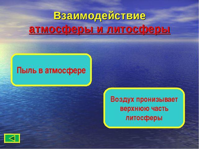 Взаимодействие атмосферы и литосферы Пыль в атмосфере Воздух пронизывает верх...