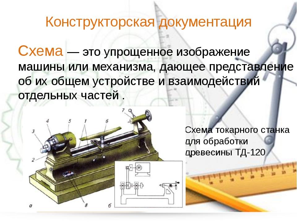 Конструкторская документация Схема — это упрощенное изображение машины или ме...