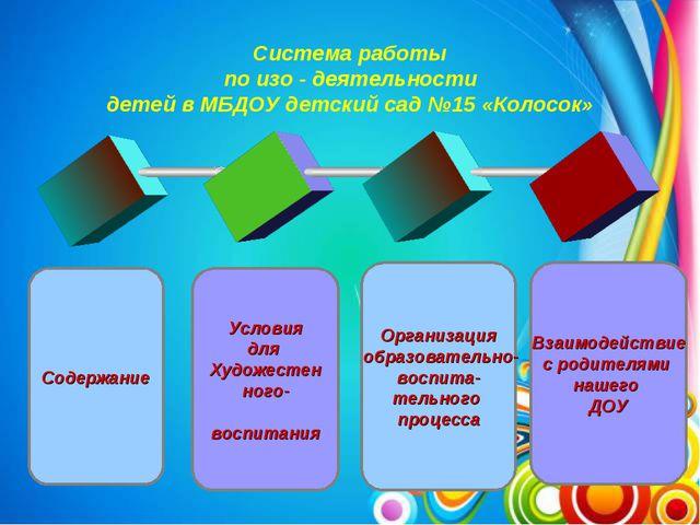 Система работы по изо - деятельности детей в МБДОУ детский сад №15 «Колосок»...