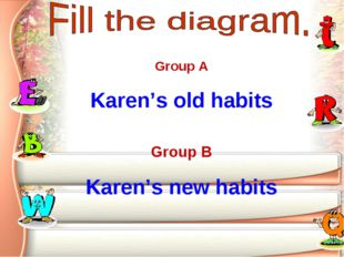 Group A Karen's old habits Group B Karen's new habits