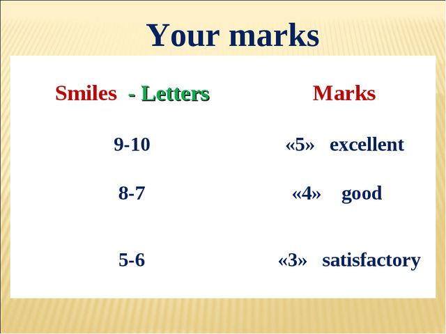 Your marks Smiles - Letters	 Marks 9-10	 «5» excellent 8-7	 «4» good 5-6 	 «3...