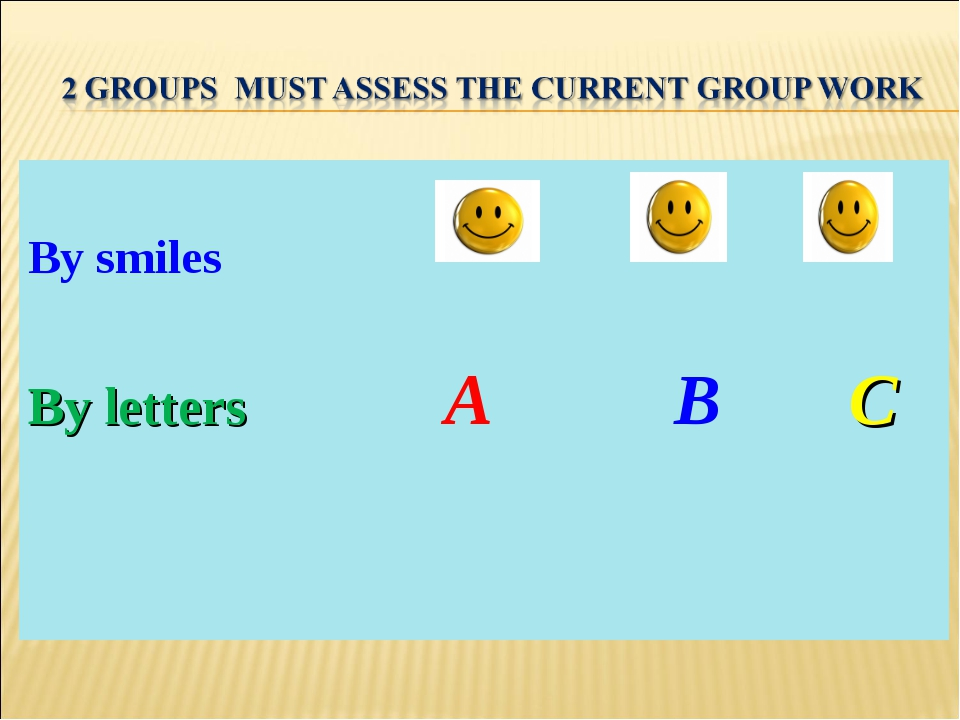 By smiles By letters A B C