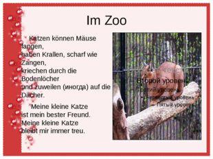 Im Zoo Katzen können Mäuse fangen, haben Krallen, scharf wie Zangen, kriechen