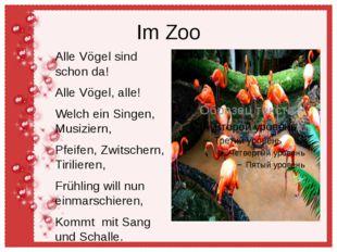 Im Zoo Alle Vögel sind schon da! Alle Vögel, alle! Welch ein Singen, Musizier