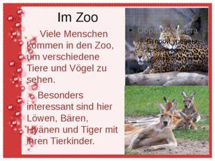 Im Zoo Viele Menschen kommen in den Zoo, um verschiedene Tiere und Vögel zu s
