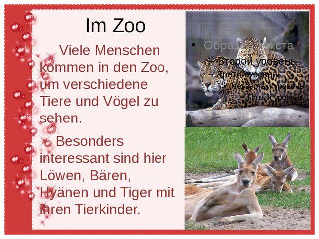 Im Zoo Viele Menschen kommen in den Zoo, um verschiedene Tiere und Vögel zu s...