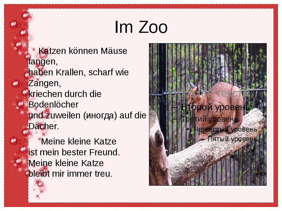 Im Zoo Katzen können Mäuse fangen, haben Krallen, scharf wie Zangen, kriechen...