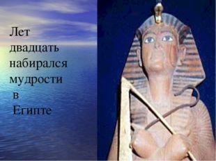 Лет двадцать набирался мудрости в Египте