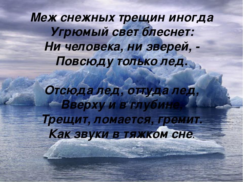 Меж снежных трещин иногда Угрюмый свет блеснет: Ни человека, ни зверей, - Пов...