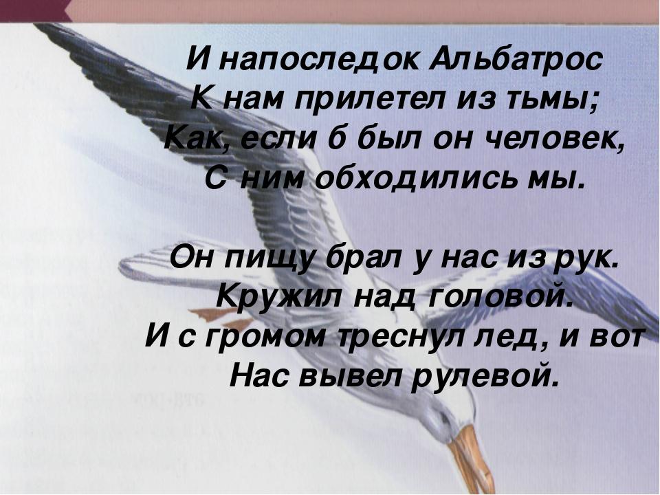 И напоследок Альбатрос К нам прилетел из тьмы; Как, если б был он человек, С...