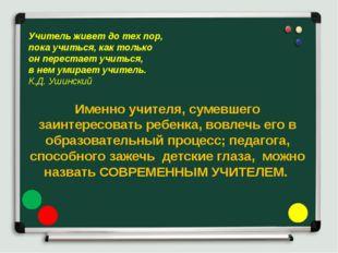 Именно учителя, сумевшего заинтересовать ребенка, вовлечь его в образовательн