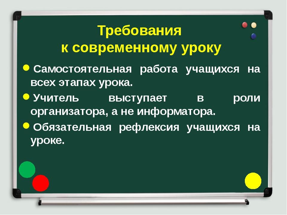 Требования к современному уроку Самостоятельная работа учащихся на всех этапа...