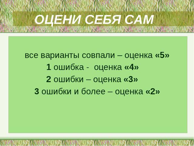 ОЦЕНИ СЕБЯ САМ все варианты совпали – оценка «5» 1 ошибка - оценка «4» 2 оши...