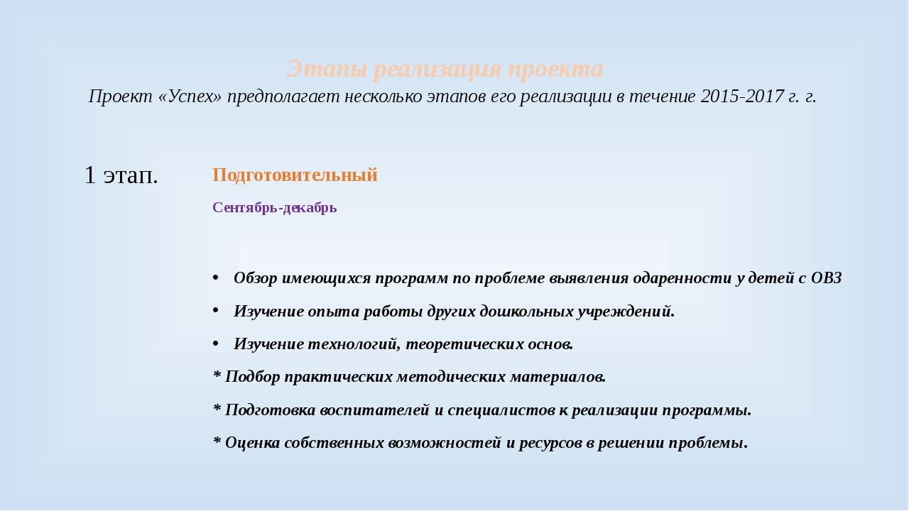 Этапы реализация проекта Проект «Успех» предполагает несколько этапов его реа...