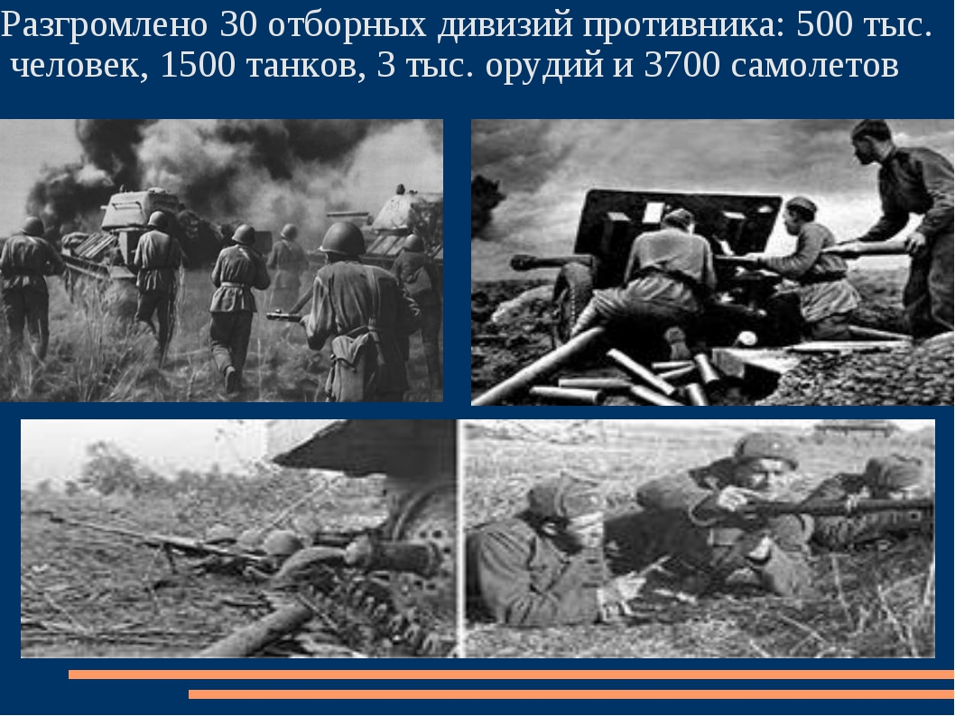 Разгромлено 30 отборных дивизий противника: 500 тыс. человек, 1500 танков, 3...