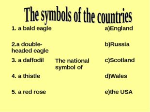 1. a bald eagleThe national symbol ofa)England 2.a double-headed eagleb)R