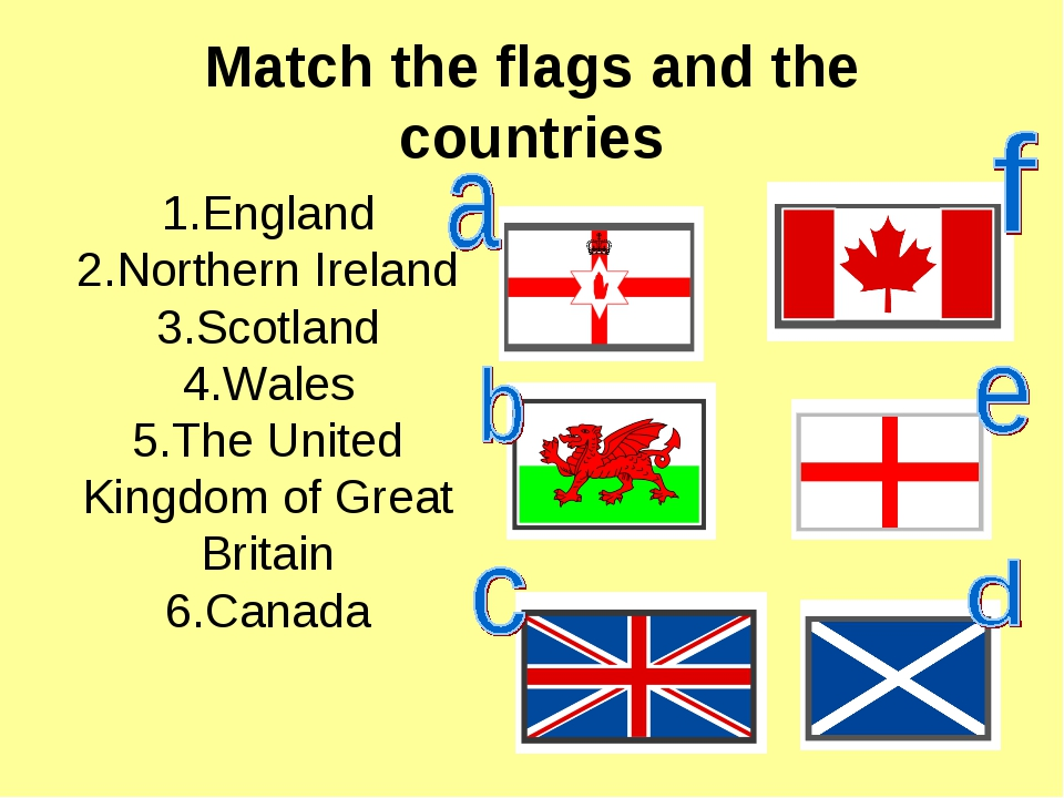 Match the flags and the countries 1.England 2.Northern Ireland 3.Scotland 4.W...