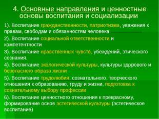 4. Основные направления и ценностные основы воспитания и социализации 1). Вос