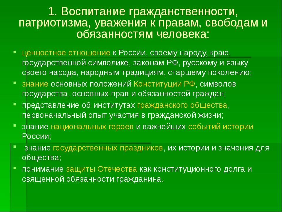 1. Воспитание гражданственности, патриотизма, уважения к правам, свободам и о...