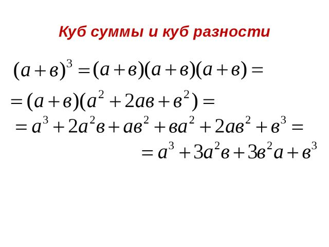 Куб суммы и куб разности