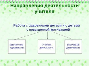 Направления деятельности учителя Работа с одаренными детьми и с детьми с повы
