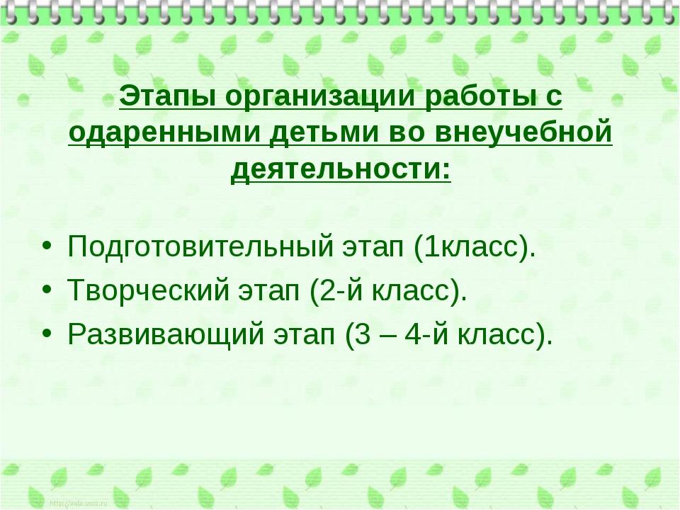 Этапы организации работы с одаренными детьми во внеучебной деятельности: Подг...