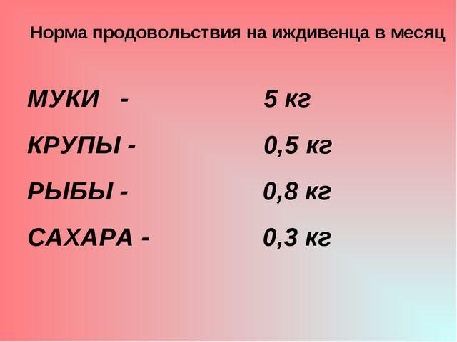 Норма продовольствия на иждивенца в месяц МУКИ - 5 кг КРУПЫ - 0,5 кг РЫБЫ -...