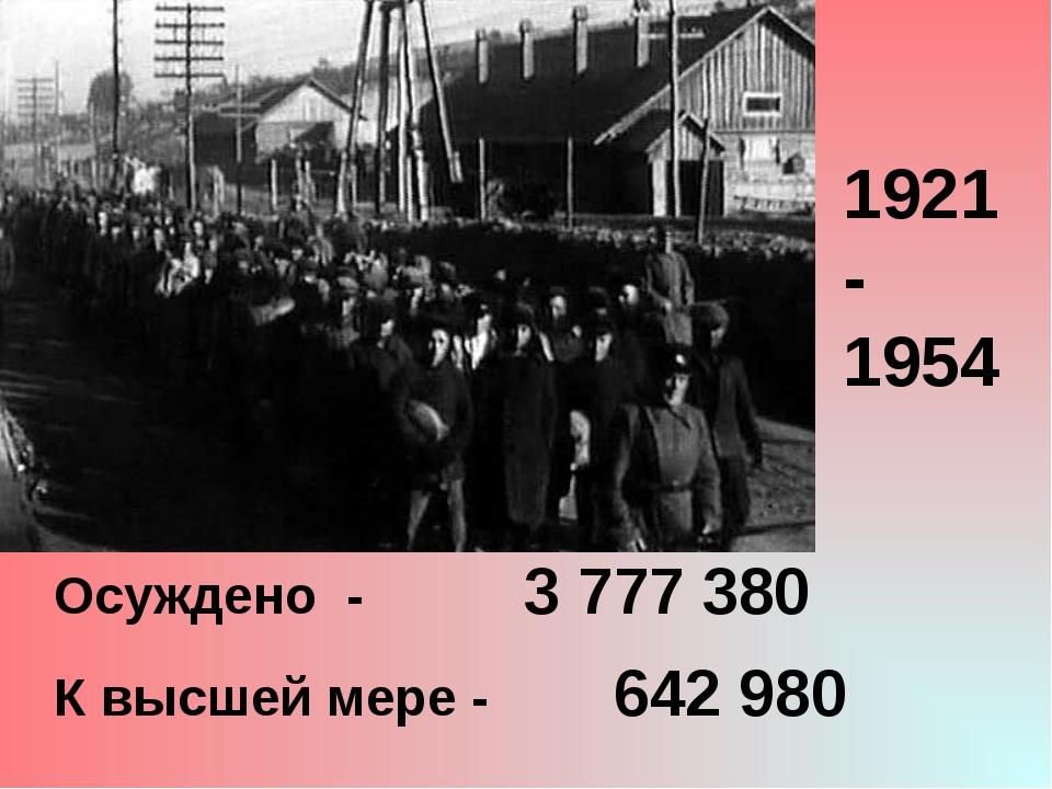 Осуждено - 3 777 380 К высшей мере - 642 980 1921- 1954