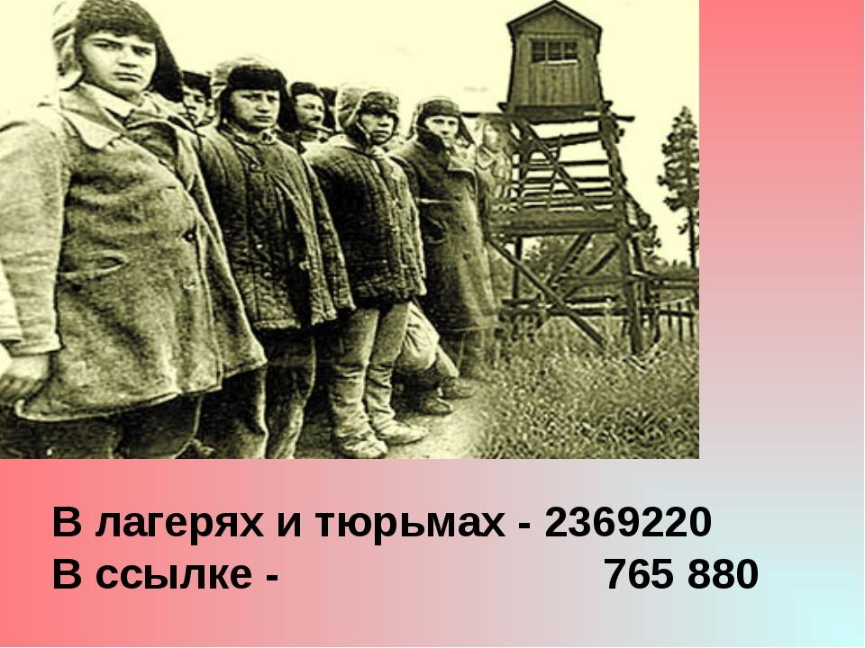 В лагерях и тюрьмах - 2369220 В ссылке - 765 880