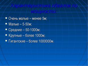 Характеристика обвалов по мощности: Очень малые – менее 5м; Малые – 5-50м; Ср