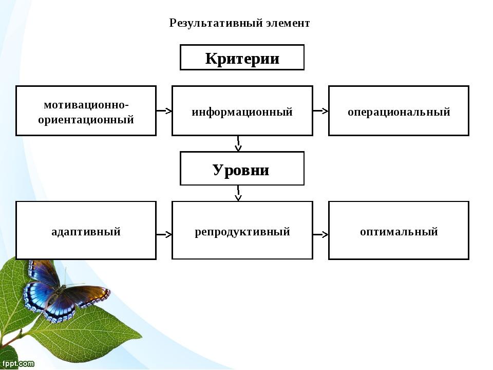 Результативный элемент мотивационно-ориентационный информационный операционал...