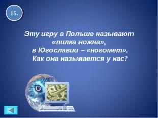 15. Эту игру в Польше называют «пилка ножна», в Югославии – «ногомет». Как он