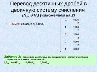 Перевод десятичных дробей в двоичную систему счисления (N10 N2) (умножением