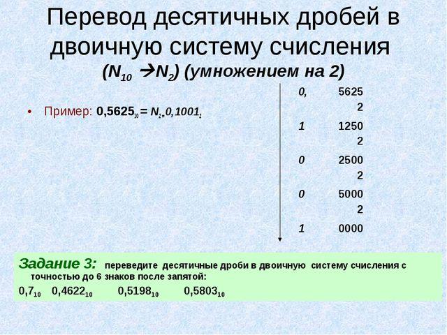 Перевод десятичных дробей в двоичную систему счисления (N10 N2) (умножением...
