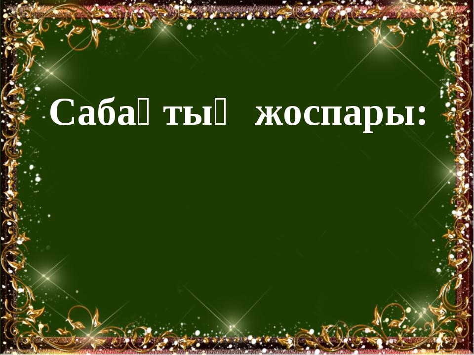Сабақтың жоспары: