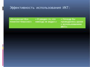Эффективность использования ИКТ: «Интересно! Все понятно! Классно!» « Я увиде