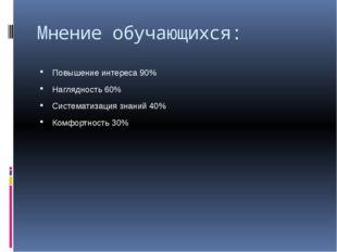 Мнение обучающихся: Повышение интереса 90% Наглядность 60% Систематизация зна