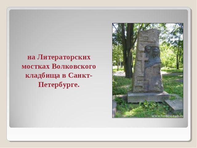 на Литераторских мостках Волковского кладбища в Санкт-Петербурге.