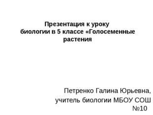 Презентация к уроку биологии в 5 классе «Голосеменные растения Петренко Галин