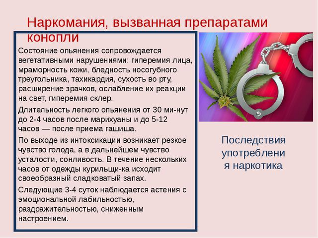 Наркомания, вызванная препаратами конопли Состояние опьянения сопровождается...