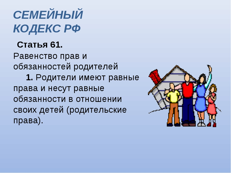 Статья 61. Равенство прав и обязанностей родителей  1. Родители имеют рав...