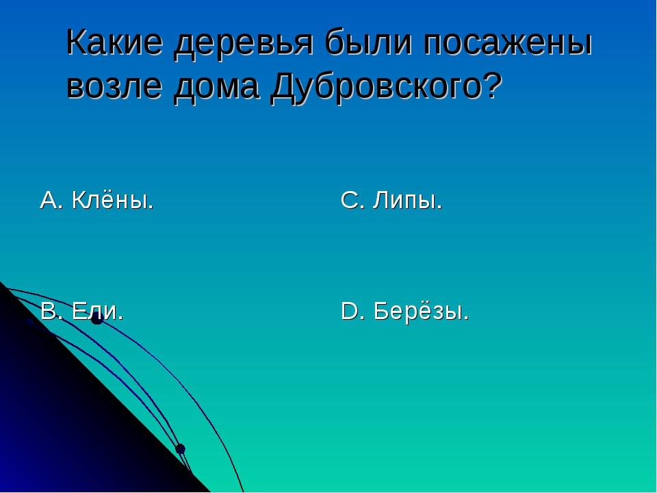 Какие деревья были посажены возле дома Дубровского? А. Клёны. В. Ели. С. Липы...