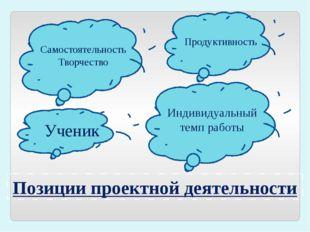 Позиции проектной деятельности Индивидуальный темп работы Ученик Самостоятель