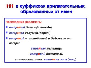 НН в суффиксах прилагательных, образованных от имен Необходимо различать: ве