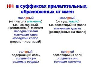 НН в суффиксах прилагательных, образованных от имен масленый (от глагола мас