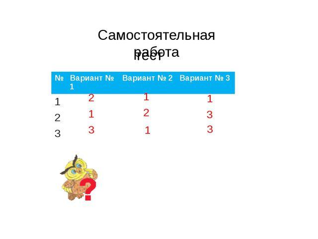 Самостоятельная работа 2 1 1 1 2 3 1 3 3 тест № Вариант №1 Вариант №2 Вариант...