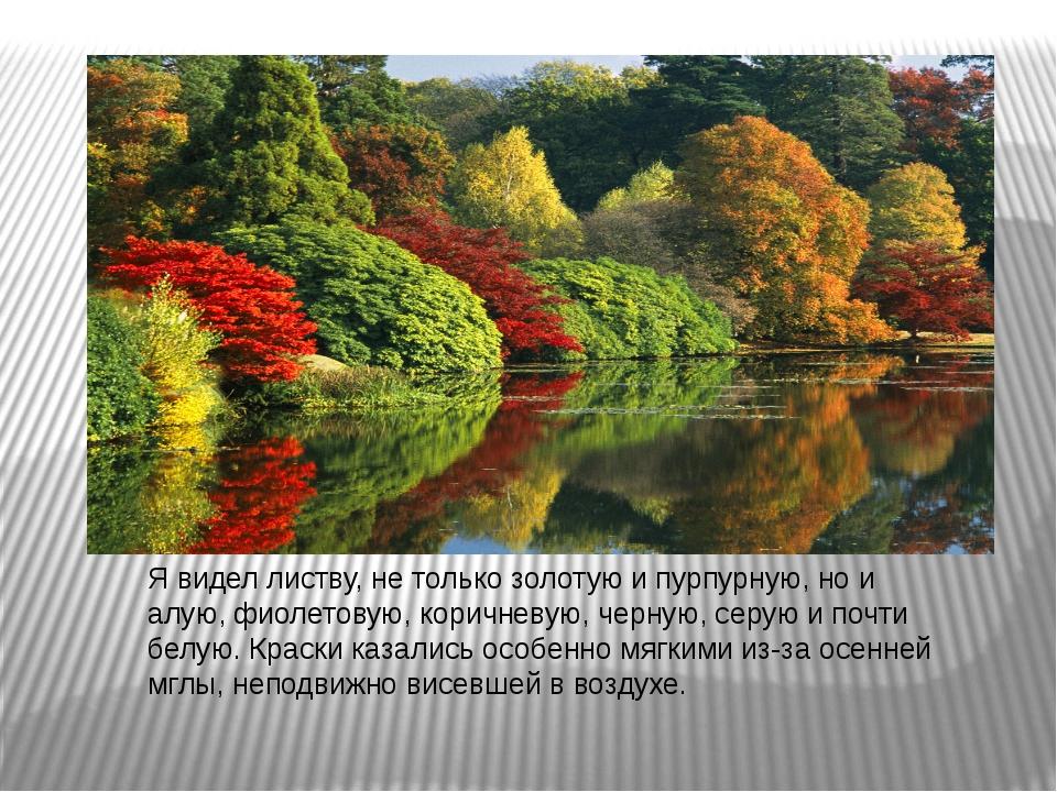 Я видел листву, не только золотую и пурпурную, но и алую, фиолетовую, коричне...
