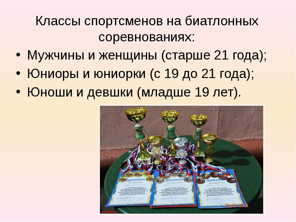 Классы спортсменов на биатлонных соревнованиях: Мужчины и женщины (старше 21...