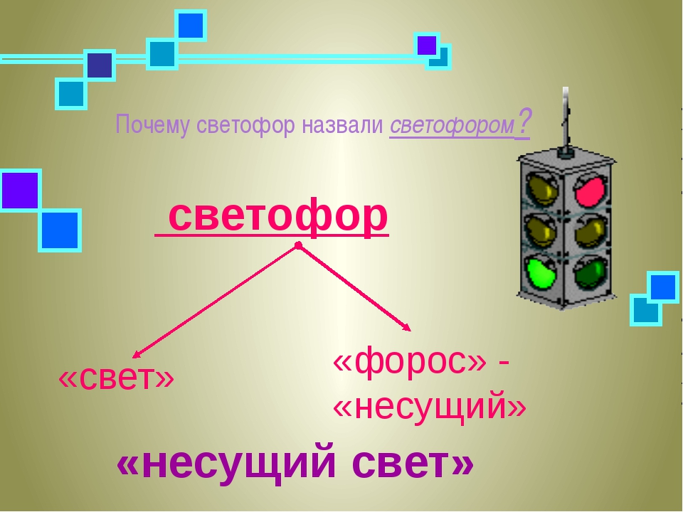 Почему светофор назвали светофором? «несущий свет» «свет» «форос» - «несущий»...