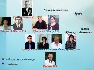 Генеалогическое древо династии семьи Квочко - Матюта Квочко А.И Квочко Н.А.